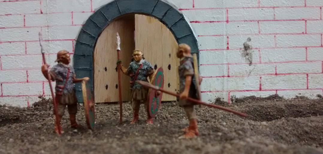 Diorama Römerkastell: 3 römische Legionäre als Wachen