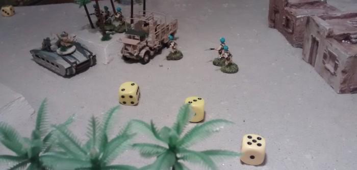 Seine drei Schuss treffen dann nur mäßig. Immerhin ist der indische Offizier darunter.