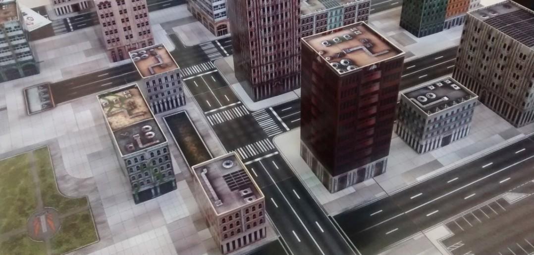 Das Spielfeld und Gebäude von Dropzone Commander