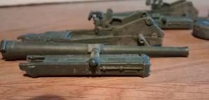 Rohrbettung, Lafette und Rohr der 6-Inch-Kanone nach dem Bemalen