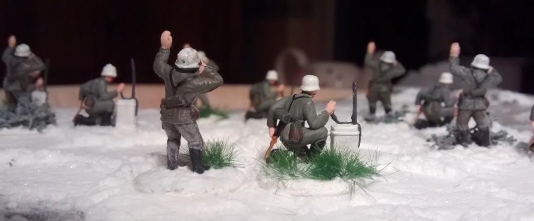 Rückansicht der Artilleriebeobachter.