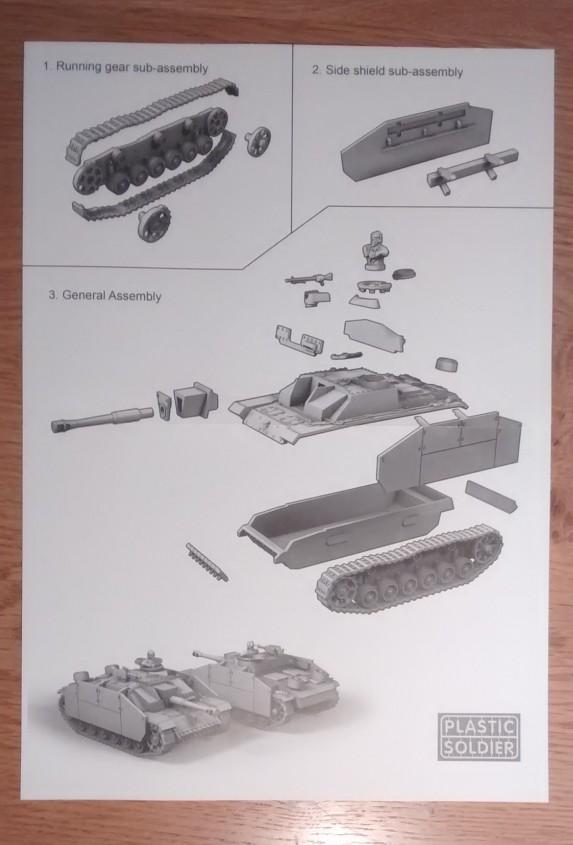 Die Bauanleitung für das StuG III von PSC ist einfach gehalten - genügt jedoch für die Montage.