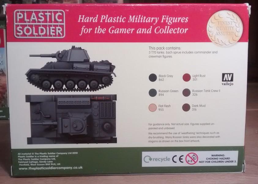 Rückseite der PSC-Box: Vorschlag für die Bemalung des T-70. Die verwendeten Farben sind einzeln aufgeführt.