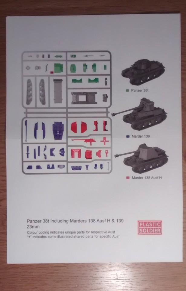 Die Vorderseite der rudimentären Bauanleitung für den Panzer 38(t) und die beiden Marder