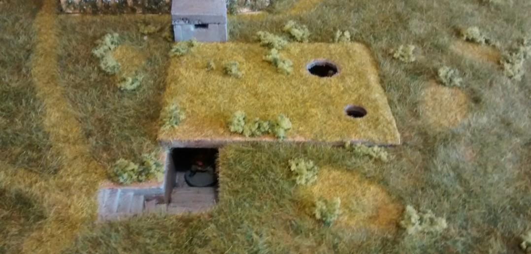 Sicht der Kanadier auf den Tobruk-Bunker, würden sie sich auf ihn zu bewegt haben und genau davor stehen.