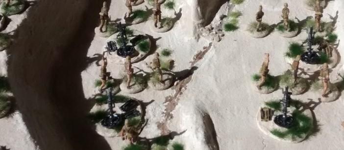 Hier aus die 120mm-Mörser aus dem Pegasus-Set bei einer kleinen Parade im Wadi Tarfaui.