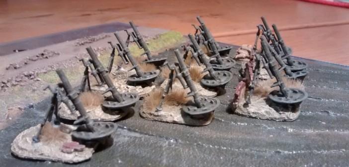 Die fertigen 120mm-Mörser auf ihren neuen Bases.