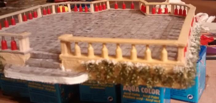 Erstes bemaltes Stück der Balustrade.