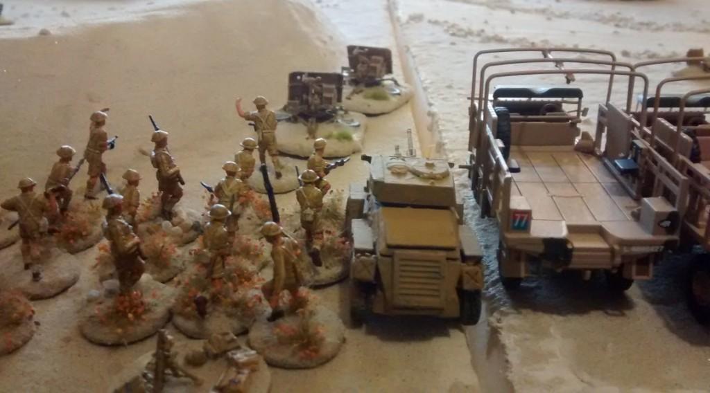 20mm-Minis der British 7th Armoured Division: Etwas bescheidene Flora auf der Base.