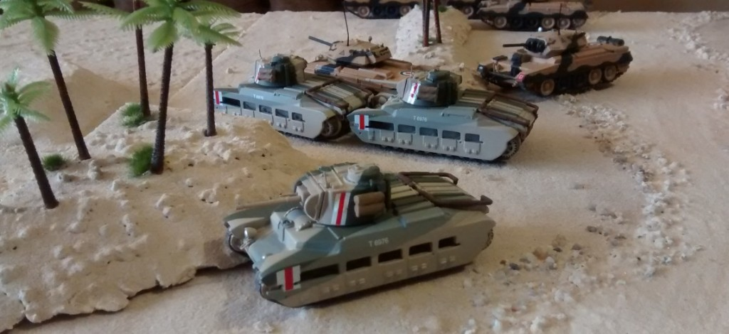 Die vorderen Einheiten sind dickhäutige Matilda Mk, II und leichte Crusader Mk. II Tanks der 7th Armoured Division.