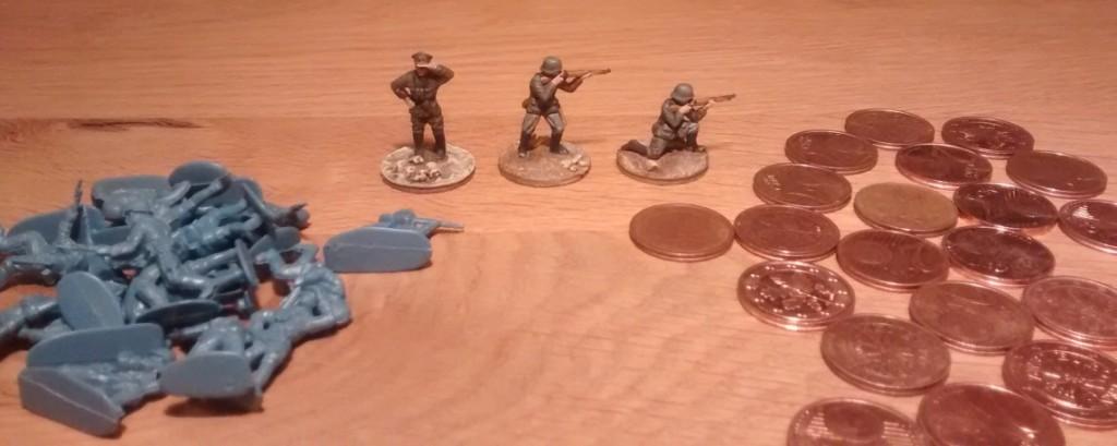 Ganz klassisch verwende ich 2-Cent-Stücke für die Base-Gestaltung der 20-mm-Figuren.