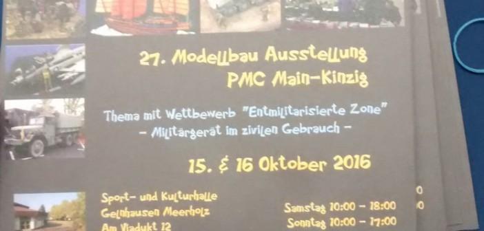 """Die 21. Modellbau-Ausstellung des PMC Main-Kinzig mit dem Wettbewerb """"entmilitarisierte Zone"""" wirft ihre Schatten in Form eines Flyers voraus."""