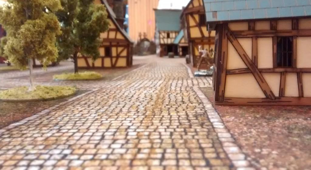 Frost Grave: die Dorfstraße mit den Laser-Cut-Häusern