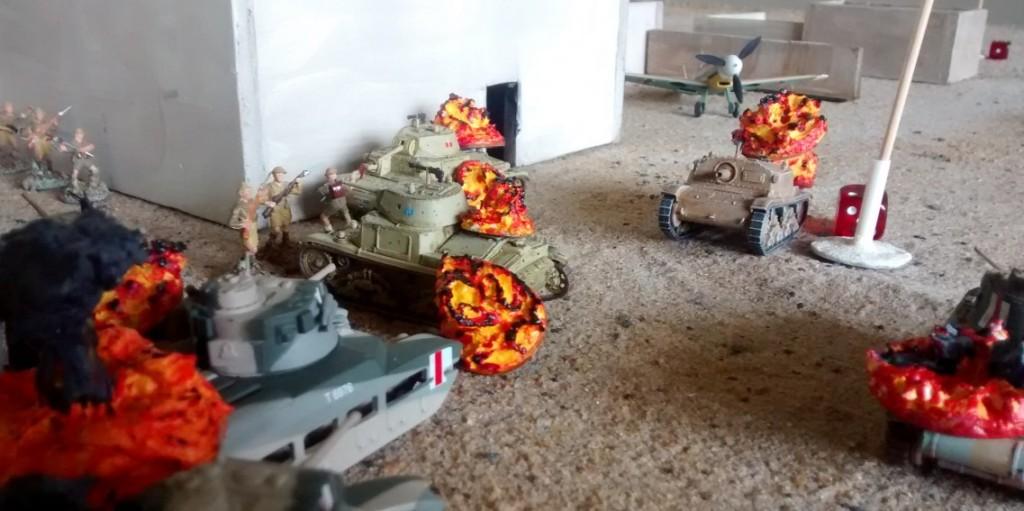 Trotz der schweren Gefechte gelingt es lange Zeit nicht, in das Verwaltungsgebäude einzudringen. Erst ein späterer reiner Infanterieangriff der Briten mit einem Sprint führt zum Erfolg.