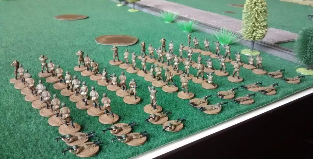 Die erste Angriffswelle der Roten Armee besteht in diesem Frontabschnitt aus 70 Infanteristen...