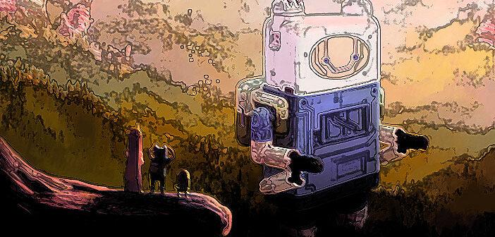 Fanart zu Adventure Time - Abenteuerzeit mit Finn und Jake. Aquarellmalerei, mit Photoshop bearbeitet.