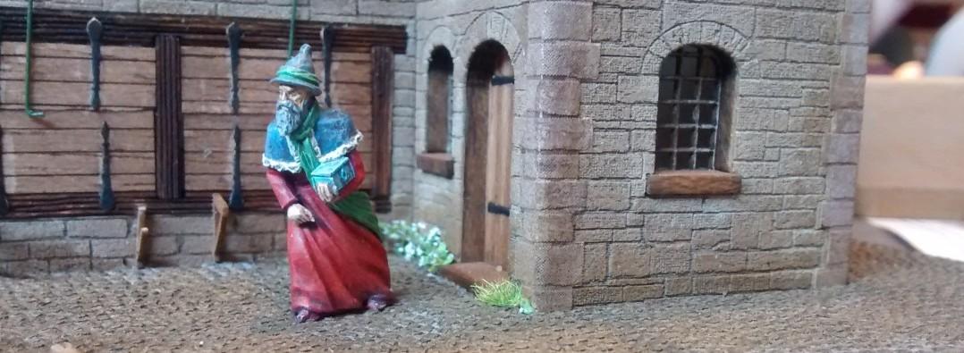 Behende verlässt hier ein Zauberer ( oder ein Bürger? ) ein mit den Fensterläden fast etwas verwunschen aussehendes Märchenschloss.