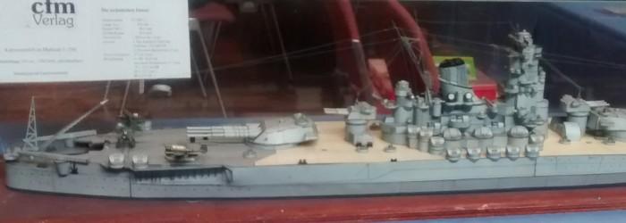 Der cfm Verlag stellt aus: Kartonmodelle im Maßstab 1:250. Das Schlachtschiff Yamato darf sicher als Paradepferd gelten auf dem Expertentag 2016 in Mainz
