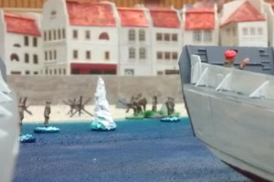 "Tisch 4 Szenario ""D-Day, 1944, Landung am Strand"" Spielplatte ""Saint-Aubin-Sur-Mer"", Abschnitt Strand/Altstadt 120 x 180cm"