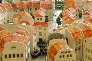 """Tisch 5 Szenario """"D-Day, 1944, Eroberung der Stadt"""" Spielplatte """"Saint-Aubin-Sur-Mer"""", Abschnitt Vorstadt 120 x 180cm"""