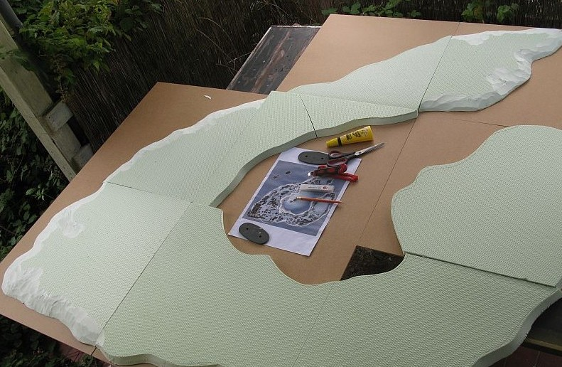 Die Dioramenplatte Wake-Island im Rohbau