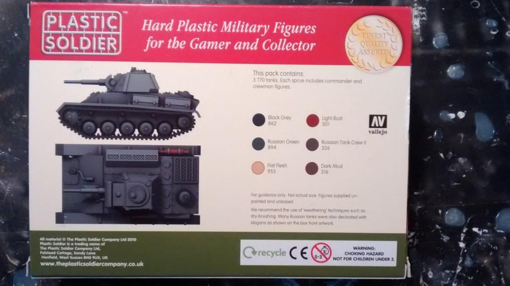 Die Schachtel des Bausatzes PSC WW2V20009 Russian T70 Tank (Rückseite mit Bemalanleitung)