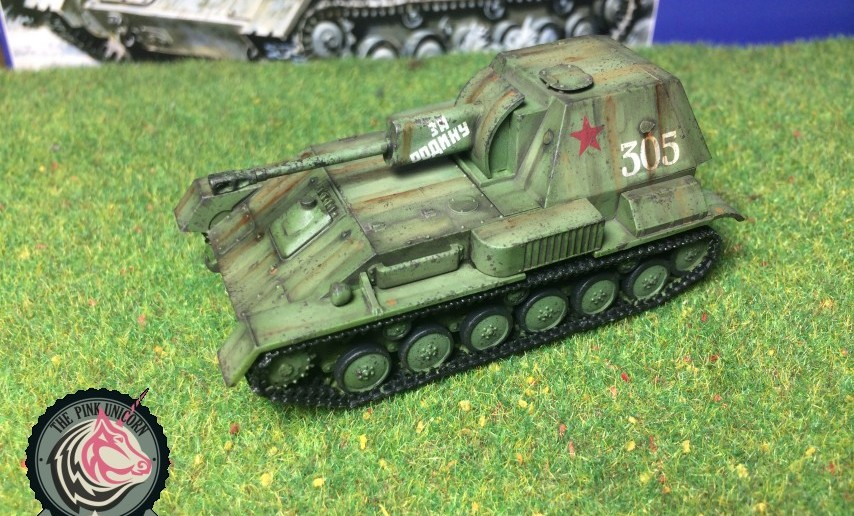 Schräg vorn vorne: SU-76 Selbstfahrlafette von UM Ukraine Models (Art.No 304)