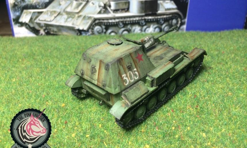 Schräg vorn hinten: SU-76 Selbstfahrlafette von UM Ukraine Models (Art.No 304)