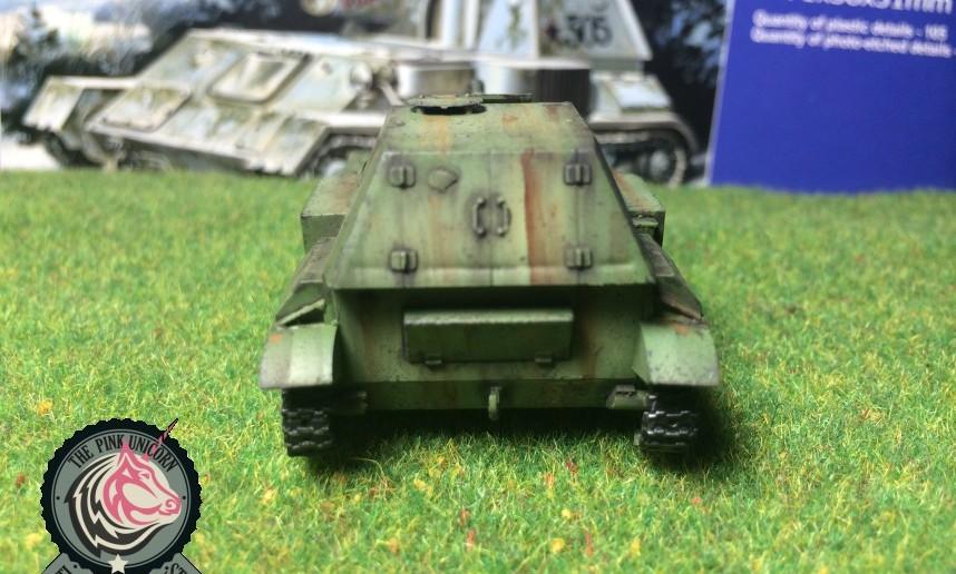 Rückansicht der SU-76 Selbstfahrlafette von UM Ukraine Models (Art.No 304)