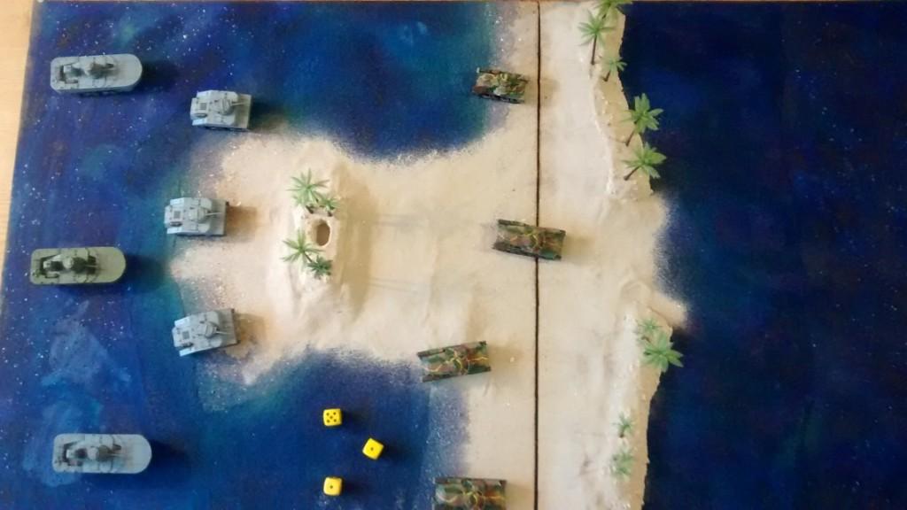 """Hier die Draufsicht auf den Prototypen der bespielbaren Dioramenplatte """"Schlacht um Wake Island"""""""