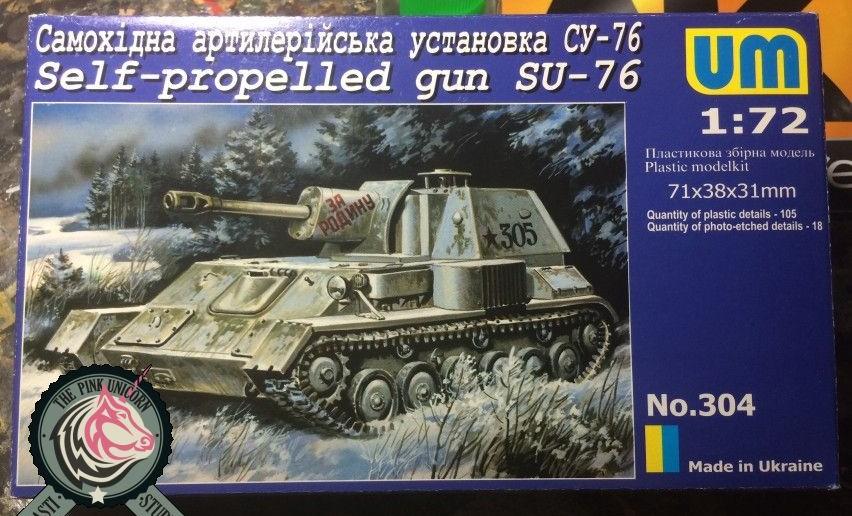 """Die Box des Bausatzes UM No. 304 """"SU-76"""""""