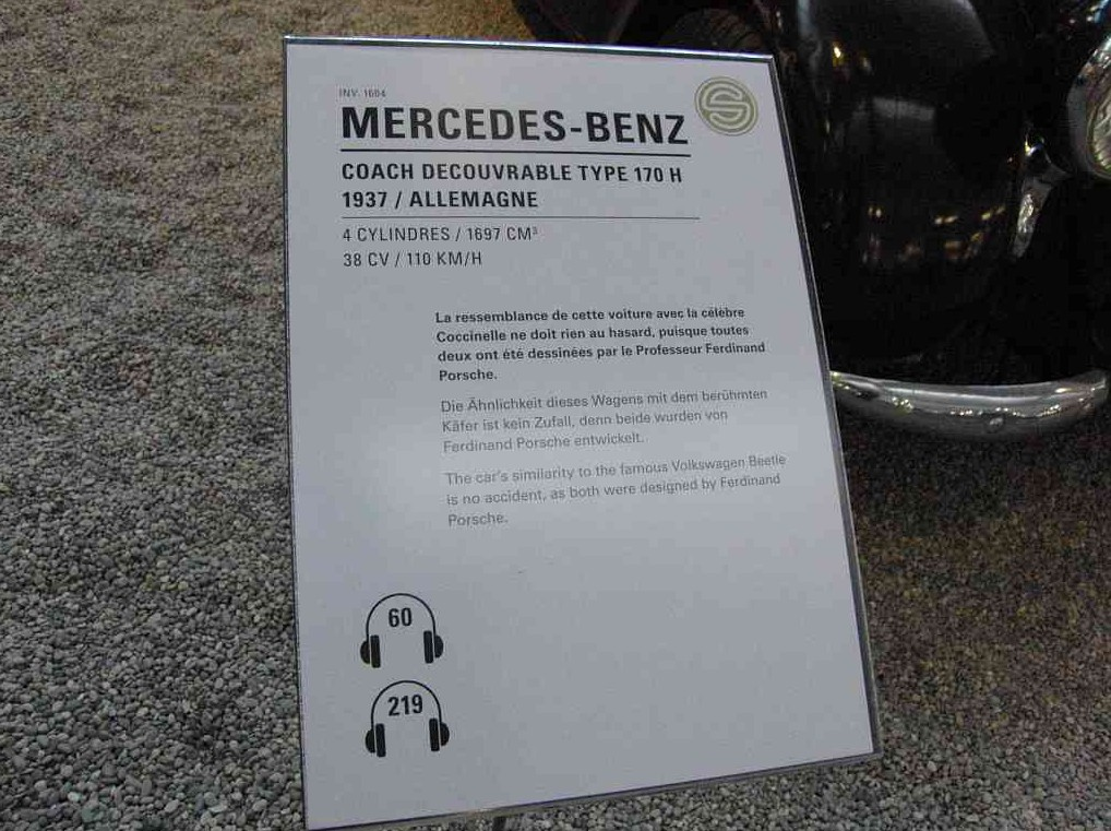 Der Mercedes-Benz W 28 von Ferdinand Porsche in der Cité de l'automobile in Mulhouse