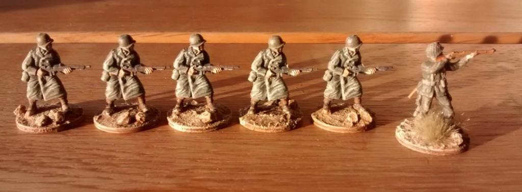 Die sechs Schützen hatte ich zu Beginn des Jahres bereits fertiggestellt. Nun kommen sie ebenfalls zum 1. Bataillon.