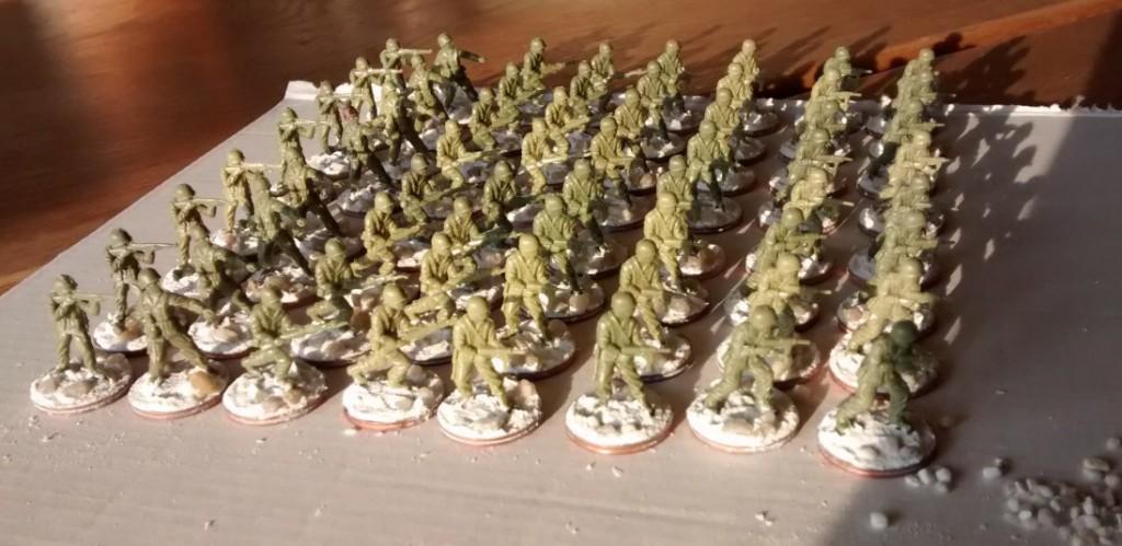 Die 64 Schützen entstammen dem Matchbox Set P5002 American Infantry.