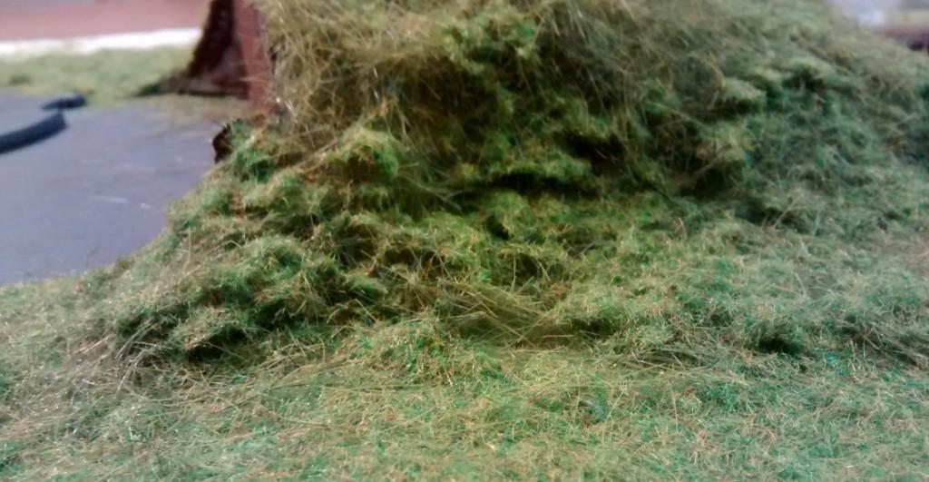 Der Grasbewuchs fällt stets sehr unregelmäßig und unterschiedlich aus, je nach Blickwinkel auf den Erdwall um den Regelbau M 272.