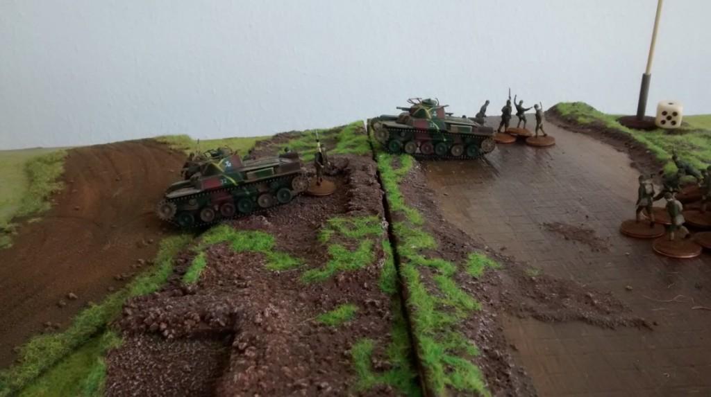 Die Kaiserliche Japanische Armee überschreitet den Chalchin-Gol