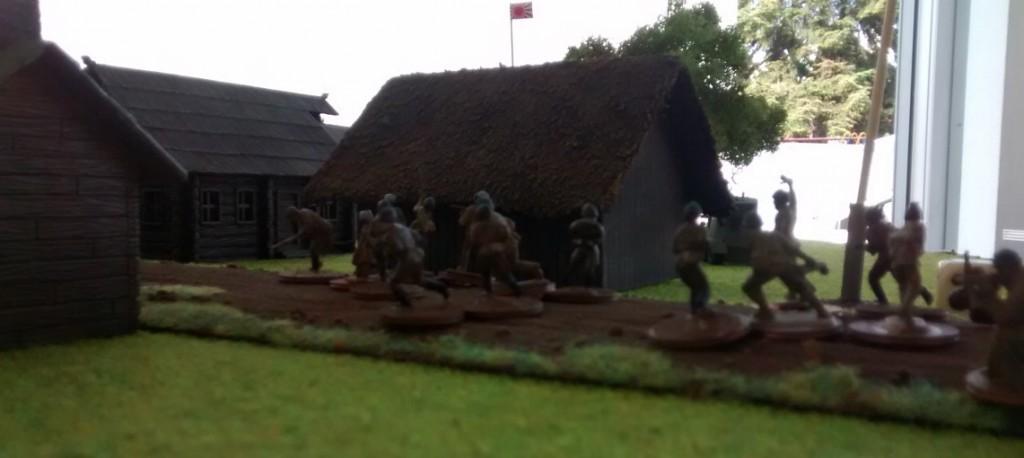 Infanterie marschiert zur Verstärkung auf.