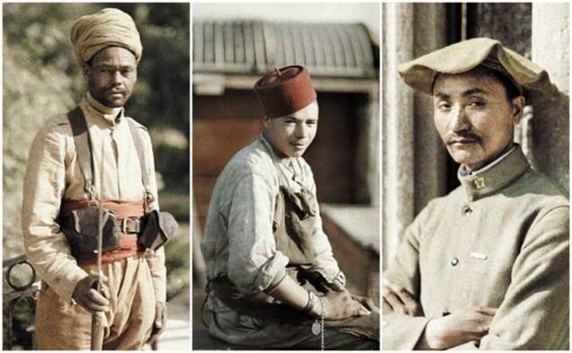 1917: ein algerischer Wachmann, ein algerischer Arbeiter und ein Arbeiter aus Indochina auf Posten bei Soissons, Aisne, Frankreich
