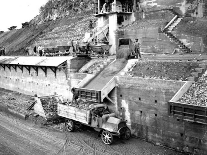 Tagebau bei Lauw in den Vogesen. November 1917.