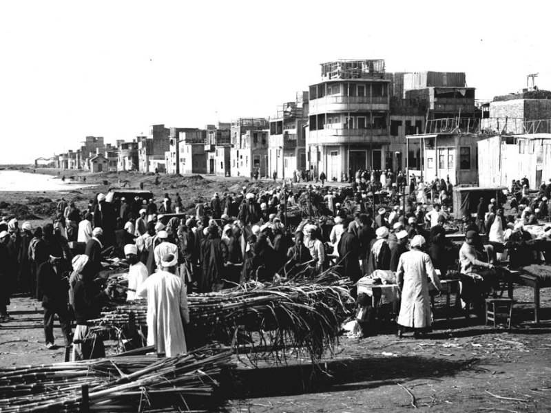 Der Zuckerrohrmarkt in Port-Saïd in Ägypten. Januar 1918.