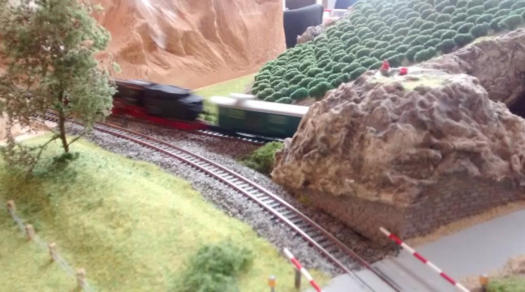 Stimmungsvoll rollt der D-Zug durch das miniaturisierte Eheinhessen.