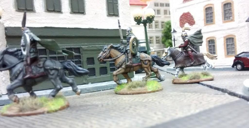 Die Reiter von Rohan in der südlichen Vorstadt von Saint-Aubin.