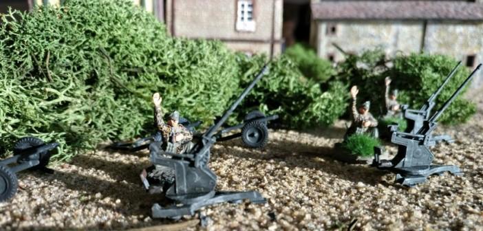 Die 20mm Flugabwehrkanone 38 (20mm Flak 38) wie hier im Infanterietrupp soll als punktegünstige Ausrüstung und bewusst wenig kampfstarke Waffe in Early-War-Spielen im Boden-Luft- und Boden-Boden-Einsatz eine Aufgabe finden.