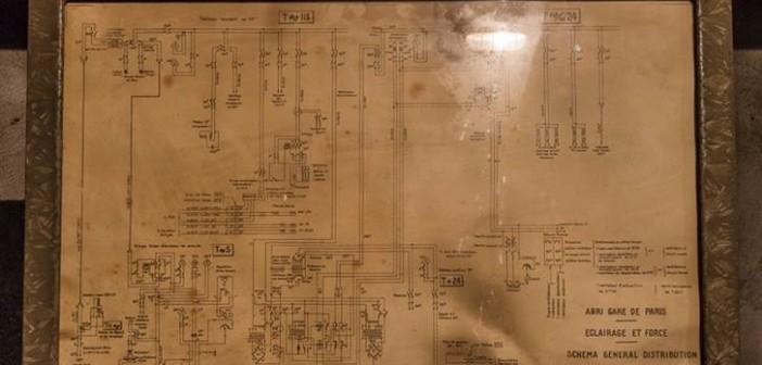 Der zugehörige Schaltplan im Bunker unter dem Gare de l'Est.