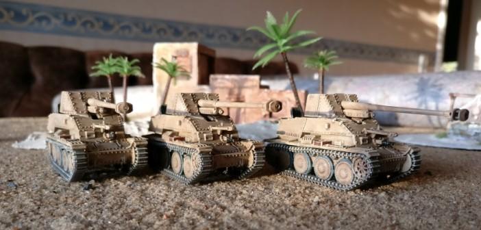 """Ein spannender Punkt ist die gute Feuerkraft der Marder III gemäß den Profilwerten von Behind Omaha. Mit einer """"3+4"""" und der dem Jagdpanzer vorbehaltenen Option, einen der Treffer-Würfel neu zu werfen, darf man der Ratsch-Bumm gute Schussergebnisse zutrauen."""