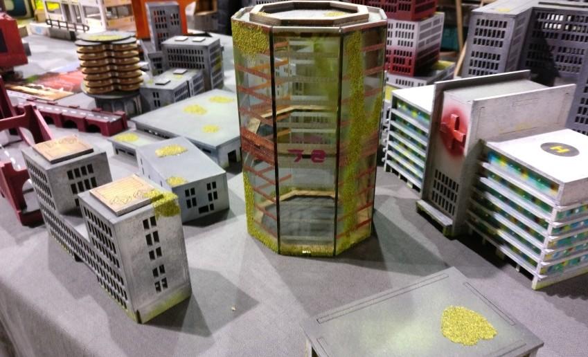 Laser-Cut-Häuser von War Mage Games für Dropzone Commander und andere Games.