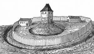 Abbildung einer Motte: ein früher Rekonstruktionsversuch eines Château à Motte von A. de Caumont aus dem 19. Jahrhundert (#1)