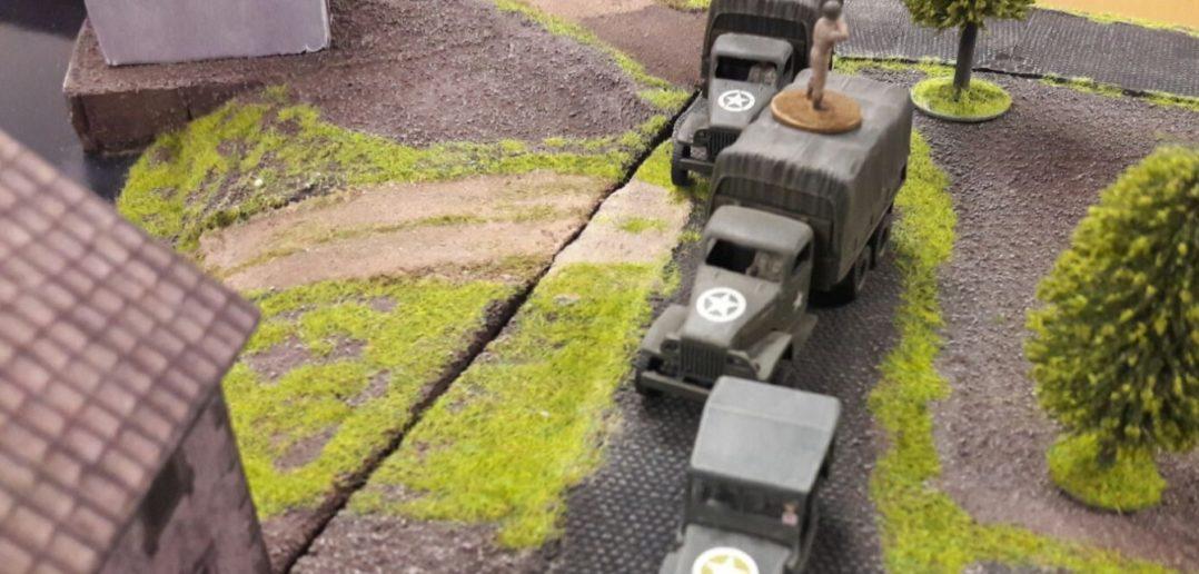 """Einweihungsspiel Behind Omaha (man spielet die alte Version 1.0) auf der Spielplatte """"Die Schelde"""". Hier rücken die US-Truppen nach Vorne."""