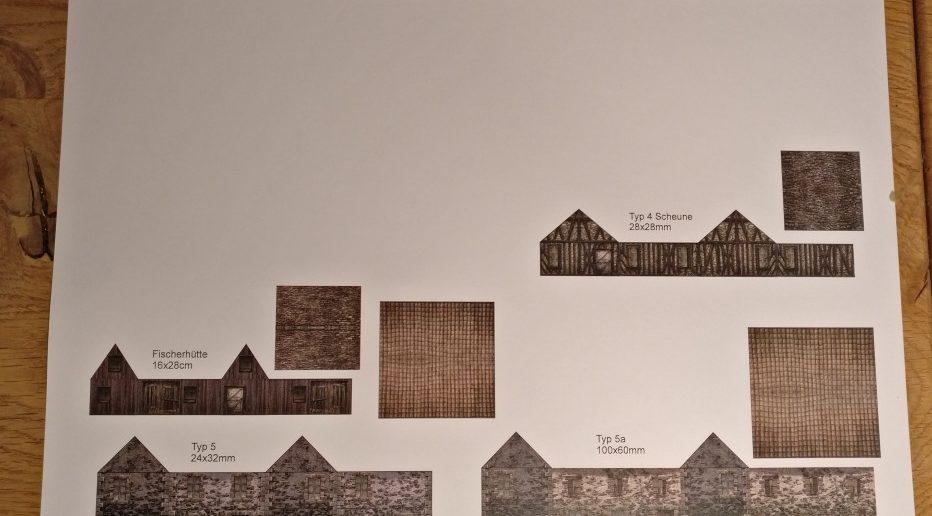 Bastelbogen für Papierhäuser im Maßstab 1:285 (6mm)