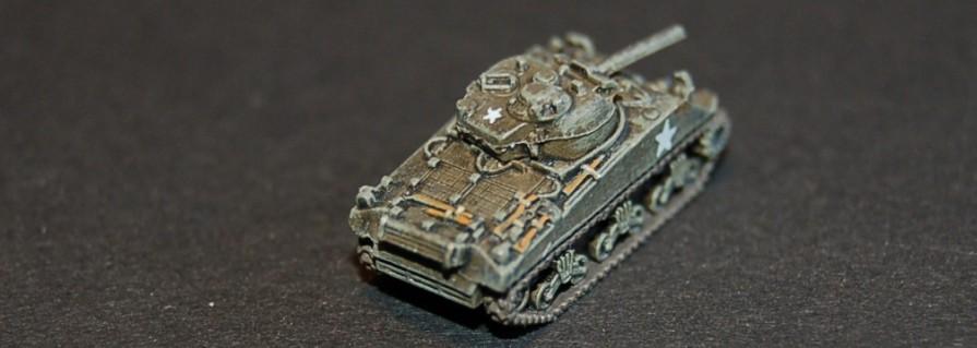 Hier der 1:275-M4 Sherman von GHQ in >Großaufnahme. Max bemalt total gerne die Ausrüstungsteile.